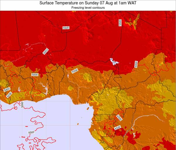 Nigeria Surface Temperature on Tuesday 10 Dec at 1am WAT