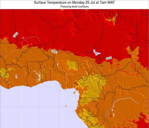 Nigeria Surface Temperature on Wednesday 22 May at 1pm WAT