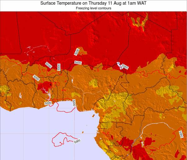 Chad Surface Temperature on Sunday 26 May at 1am WAT map