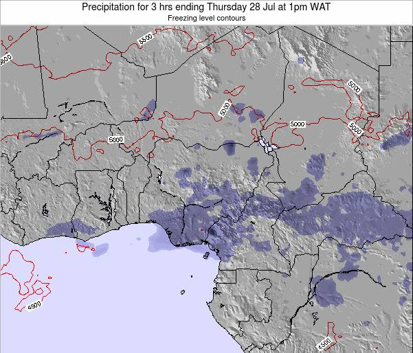 Chad Precipitation for 3 hrs ending Monday 27 May at 7pm WAT map
