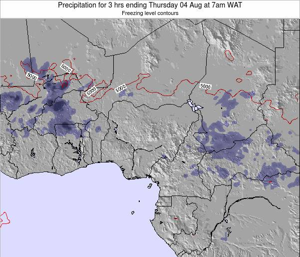Nigeria Precipitation for 3 hrs ending Friday 01 Aug at 1pm WAT