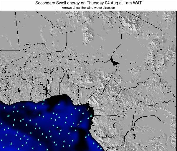 Nigeria Secondary Swell energy on Monday 27 Nov at 7am WAT map