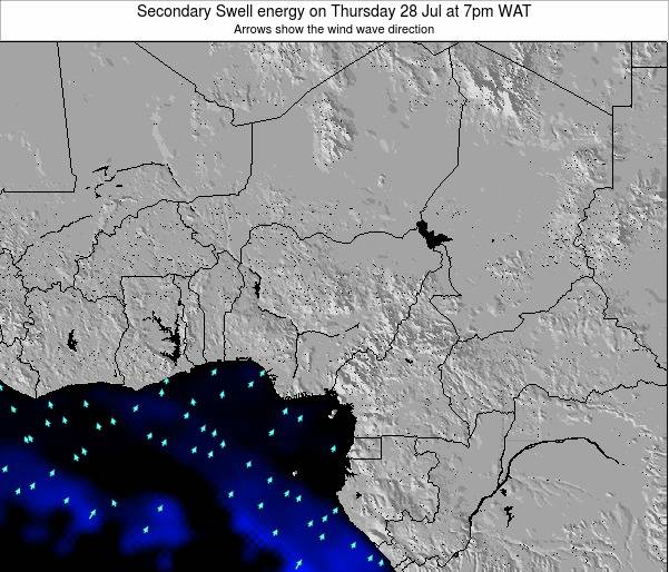 Niger Secondary Swell energy on Thursday 22 Aug at 1pm WAT map