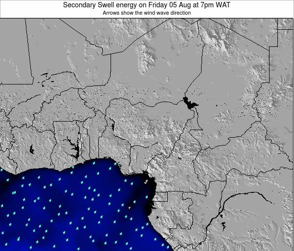 Niger Secondary Swell energy on Monday 19 Aug at 1pm WAT map