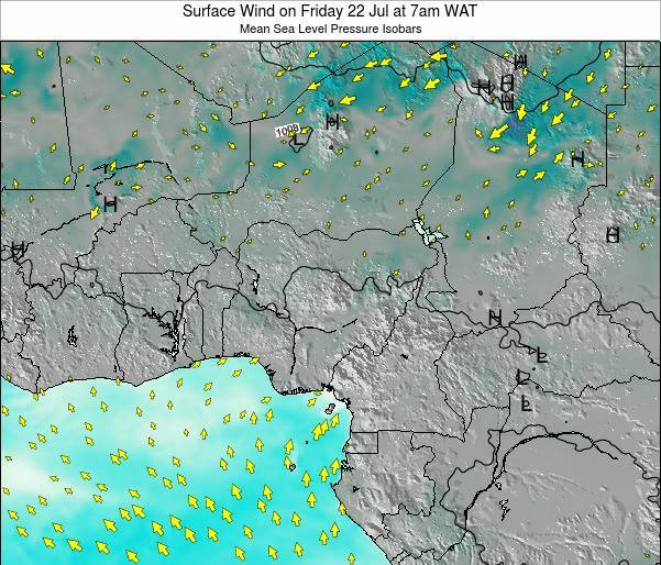 Niger Surface Wind on Thursday 13 Dec at 7pm WAT map