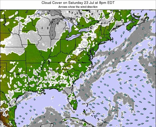 Tennessee Cloud Cover on Friday 16 Mar at 8pm EDT map