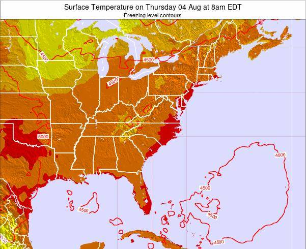 South-Carolina Surface Temperature on Monday 21 Apr at 2am EDT