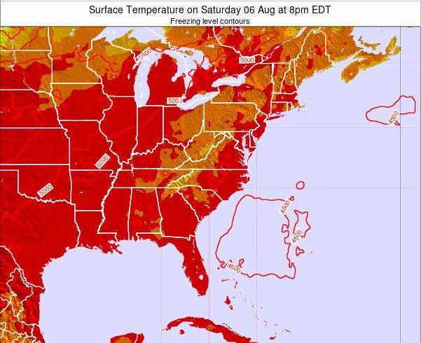 South-Carolina Surface Temperature on Thursday 25 Aug at 8am EDT