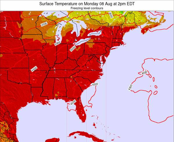 Virginia Surface Temperature on Thursday 23 May at 8am EDT map