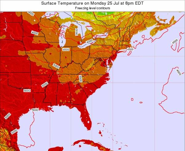 Virginia Surface Temperature on Thursday 30 May at 2pm EDT map