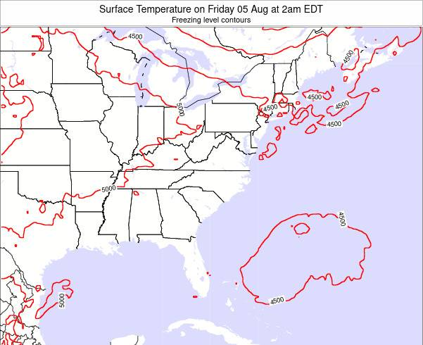 Virginia Surface Temperature on Sunday 23 Jun at 2pm EDT map
