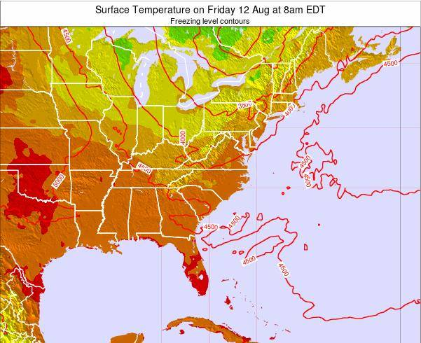North-Carolina Surface Temperature on Tuesday 28 May at 8pm EDT