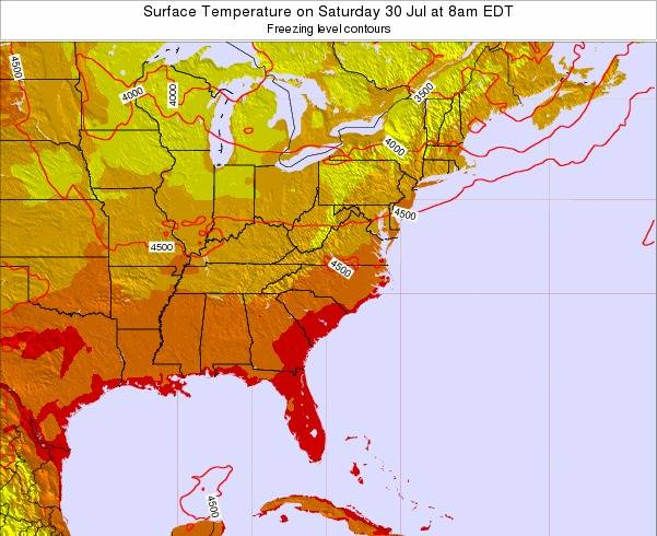 North-Carolina Surface Temperature on Monday 24 Jun at 2pm EDT