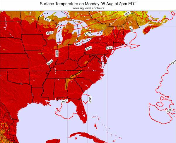 North-Carolina Surface Temperature on Wednesday 26 Jun at 8am EDT