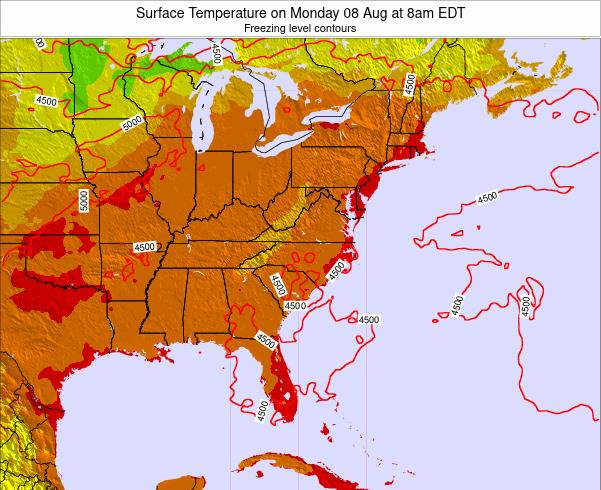 Virginia Surface Temperature on Saturday 18 May at 8pm EDT map