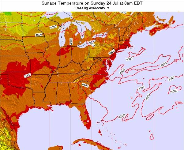 North-Carolina Surface Temperature on Sunday 19 May at 2am EDT