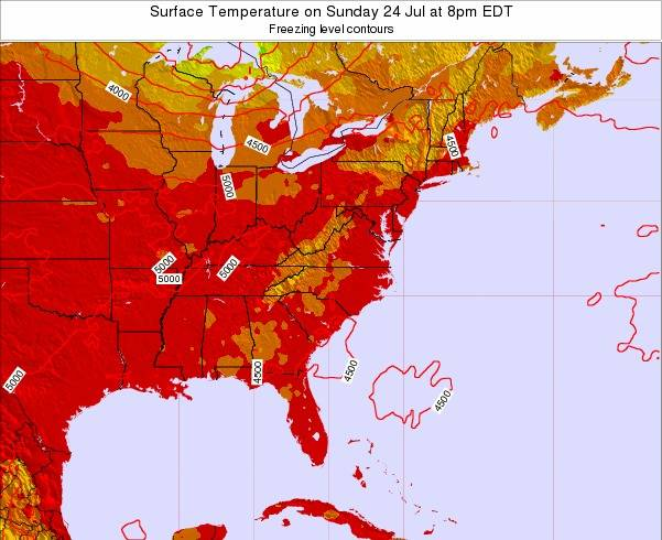 Virginia Surface Temperature on Thursday 20 Jun at 8am EDT map