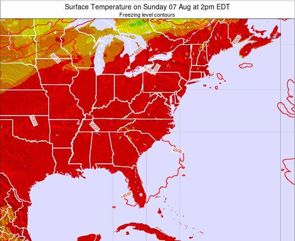 North-Carolina Surface Temperature on Tuesday 21 May at 2am EDT