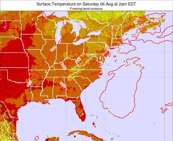 South-Carolina Surface Temperature on Friday 25 Apr at 2am EDT