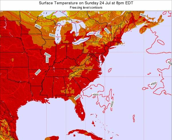 South-Carolina Surface Temperature on Thursday 20 Jun at 2pm EDT