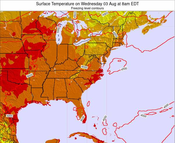 North-Carolina Surface Temperature on Saturday 25 May at 2pm EDT