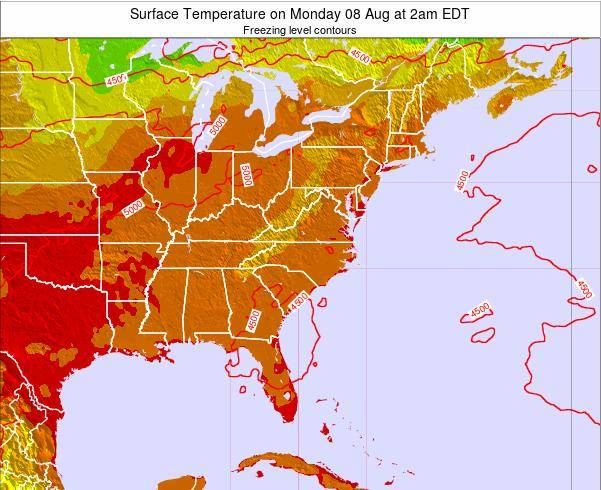 Virginia Surface Temperature on Friday 21 Jun at 8pm EDT map