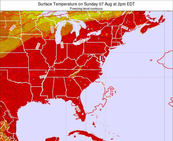 North-Carolina Surface Temperature on Monday 27 May at 8pm EDT