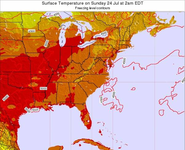 Virginia Surface Temperature on Saturday 25 May at 8am EDT map