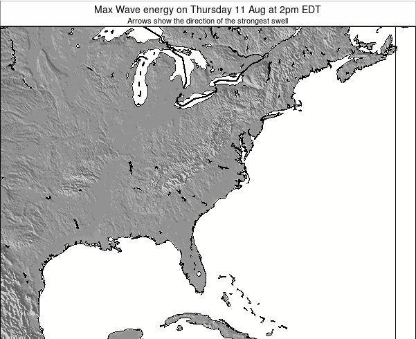 North-Carolina Max Wave energy on Tuesday 25 Jun at 2pm EDT
