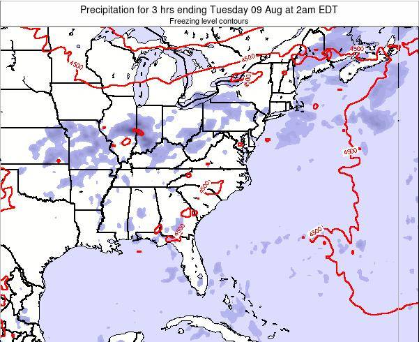 North-Carolina Precipitation for 3 hrs ending Sunday 23 Jun at 2pm EDT map