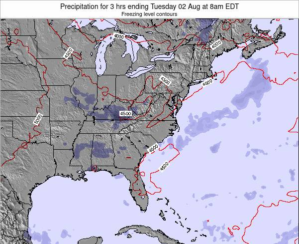 North-Carolina Precipitation for 3 hrs ending Thursday 20 Jun at 8am EDT map