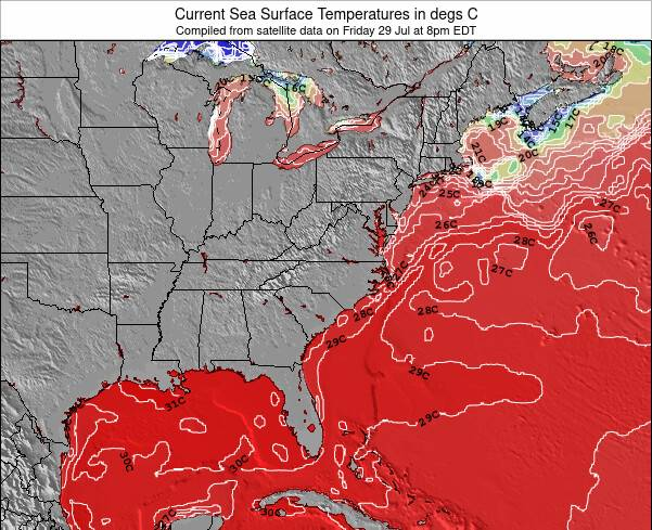 North-Carolina Sea Temperature Map