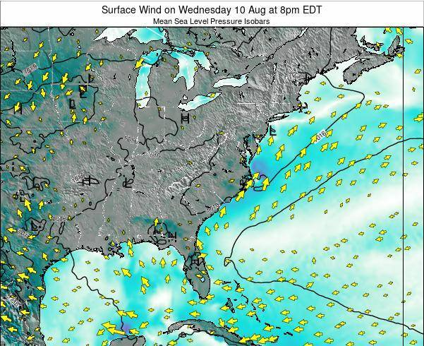 North-Carolina Surface Wind on Friday 25 Apr at 2am EDT