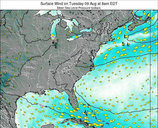 North-Carolina Surface Wind on Saturday 01 Oct at 8pm EDT
