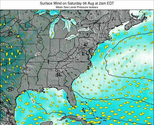 North-Carolina Surface Wind on Sunday 24 Aug at 2am EDT