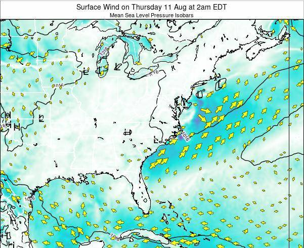 North-Carolina Surface Wind on Saturday 02 Aug at 8am EDT