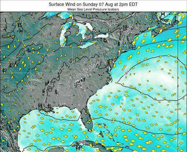 North-Carolina Surface Wind on Saturday 15 Mar at 8pm EDT