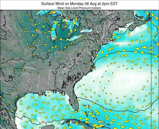 North-Carolina Surface Wind on Wednesday 21 Mar at 8am EDT map