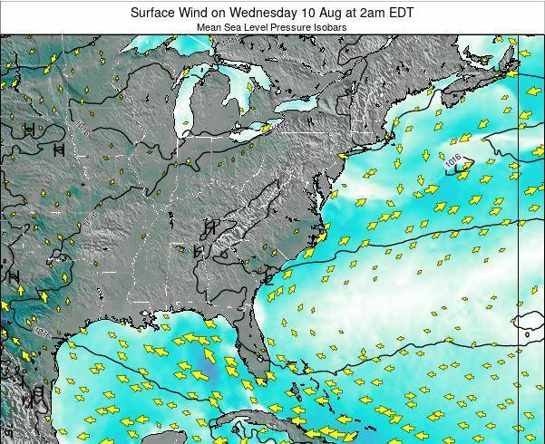 North-Carolina Surface Wind on Sunday 27 Jul at 8pm EDT