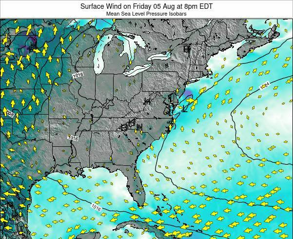North-Carolina Surface Wind on Tuesday 29 Apr at 2am EDT