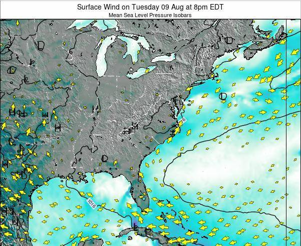 North-Carolina Surface Wind on Saturday 06 Sep at 2pm EDT