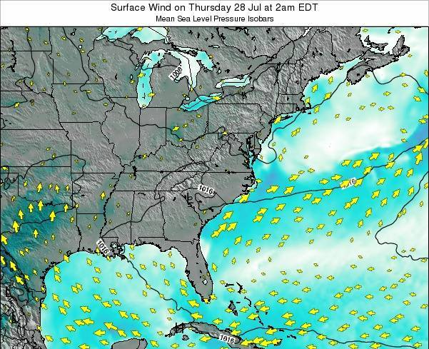 North-Carolina Surface Wind on Friday 14 Mar at 8pm EDT