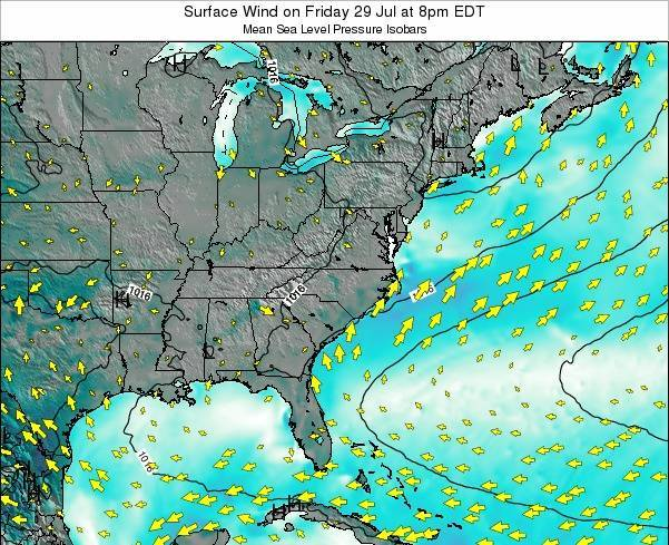 North-Carolina Surface Wind on Wednesday 06 Aug at 8am EDT