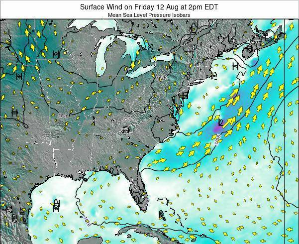 North-Carolina Surface Wind on Monday 17 Mar at 8am EDT