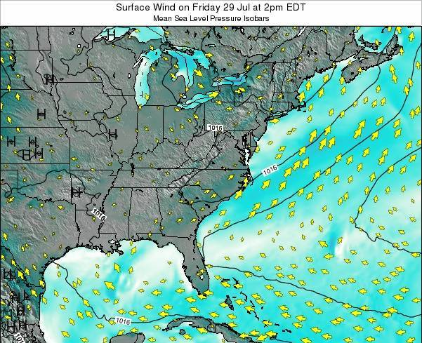 North-Carolina Surface Wind on Sunday 15 Dec at 1pm EST