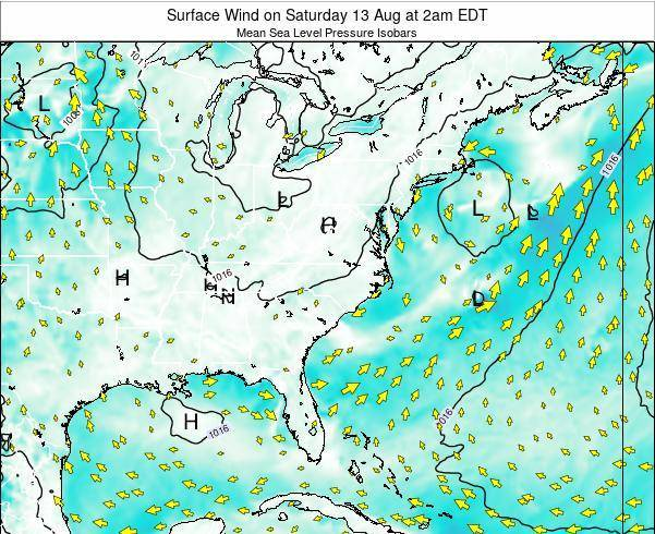 North-Carolina Surface Wind on Thursday 30 Apr at 8pm EDT
