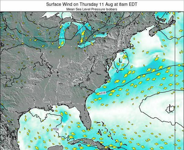 North-Carolina Surface Wind on Monday 27 May at 8am EDT