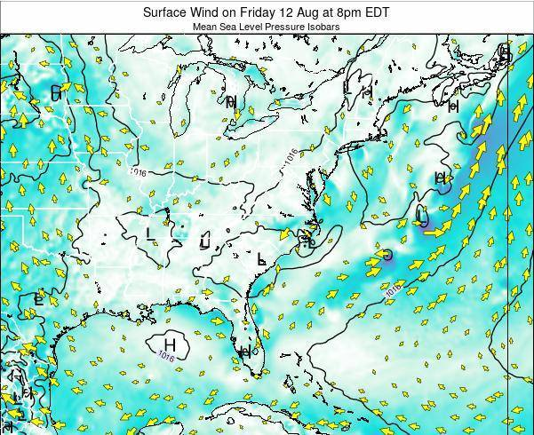North-Carolina Surface Wind on Monday 03 Oct at 8pm EDT