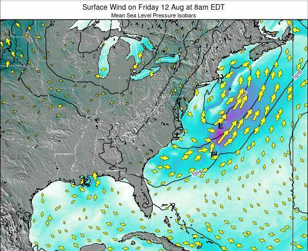 North-Carolina Surface Wind on Monday 28 Jul at 2pm EDT