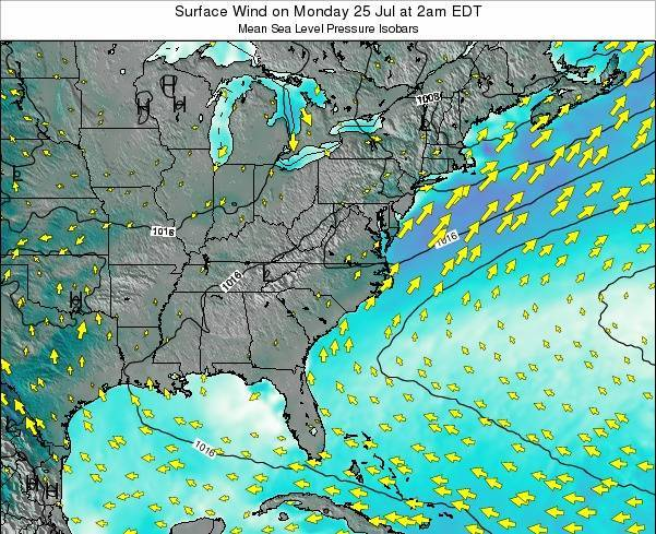 North-Carolina Surface Wind on Friday 14 Mar at 1pm EST